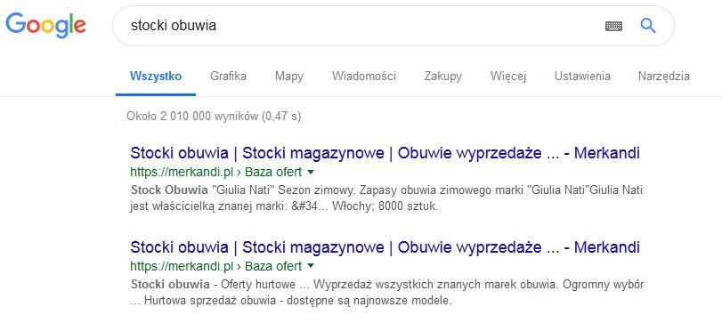 podgląd wyników z google